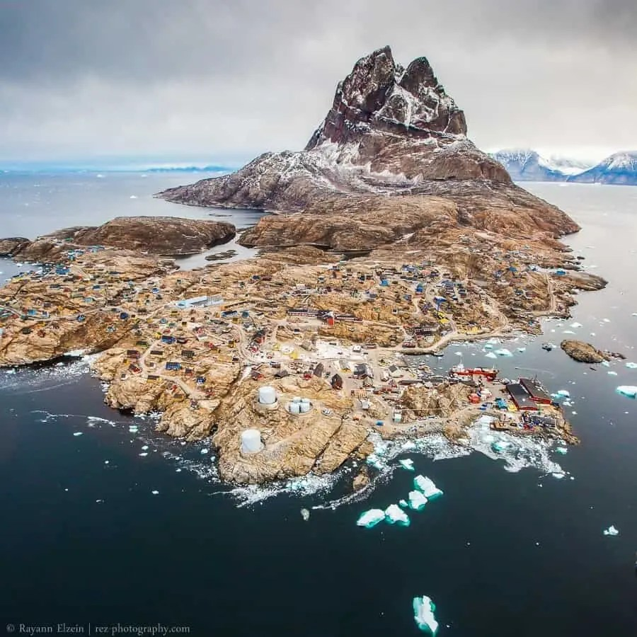 Heart shaped Uummannaq mountain and town in Greenland