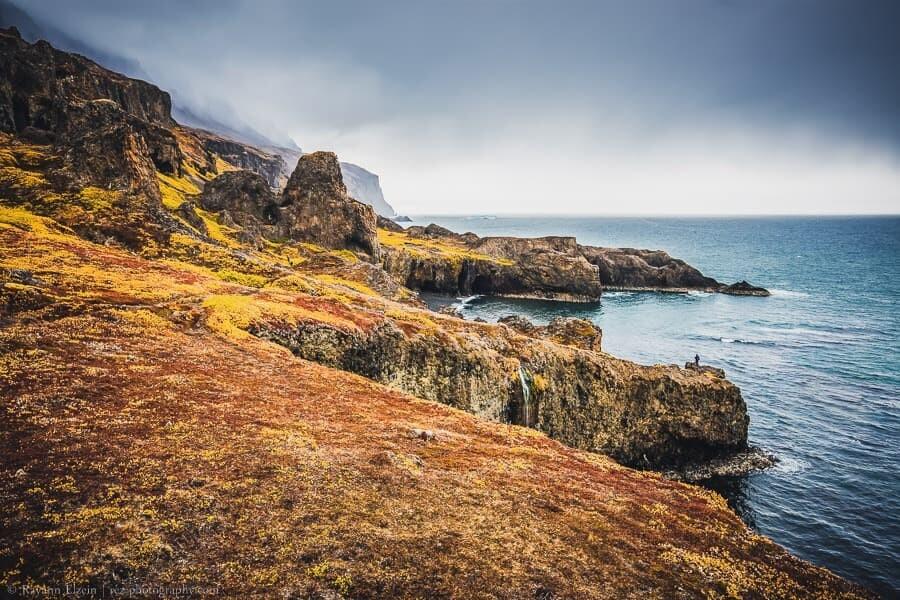 The coast of Disko Island in Greenland