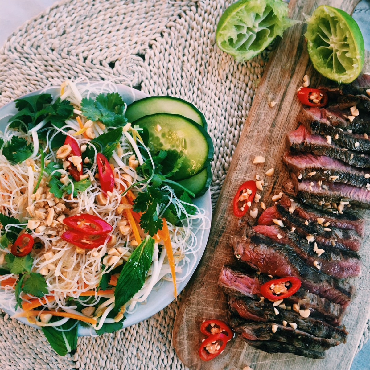 Thai Grilled Beef Noodle Salad With Sesame Lime Dressing