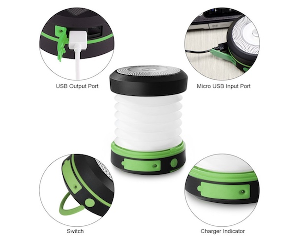 Inflatable, foldable solar powered camping lantern