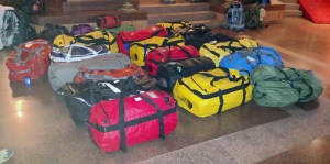 Our duffels ready to be loaded up to go to the airport.