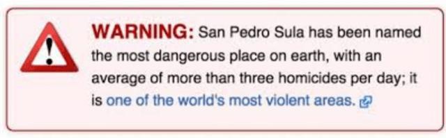 SAn Pedro Sula Warning