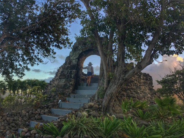 Exploring ruins in Nevis with Funky Monkey Tours.