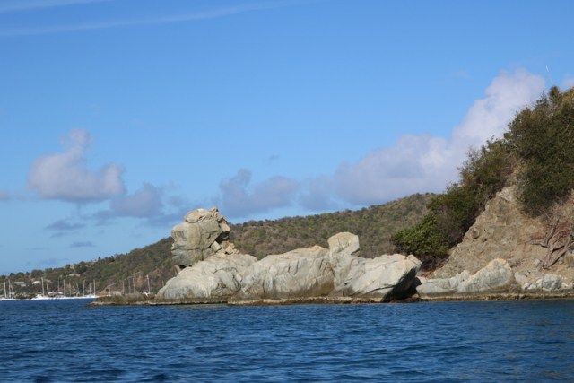 Touring the coast line and loving the rock formations on Salt Island!