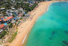 Unawatuna is a famous beach in the surroundings of Galle in the Southern Province of Sri Lanka.