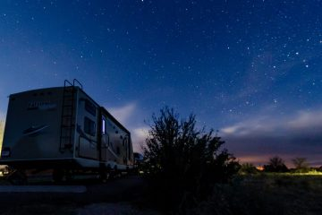 Night photo of campsite at Valley of Fires Recreation Area Carrizozo New Mexico