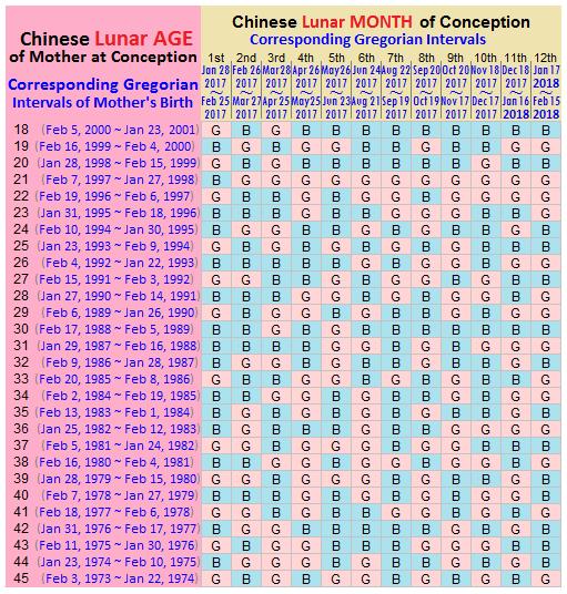Gender Prediction Calendar