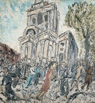 Painting, Christ Church, Spitalfields, Summer 1990 by Leon Kossoff
