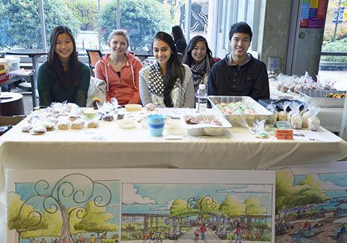 Club members Nicole Wen, Lauren Arnold, Amita Brar, Emily Saeyang and Kyle Mai manning the bake sale booth