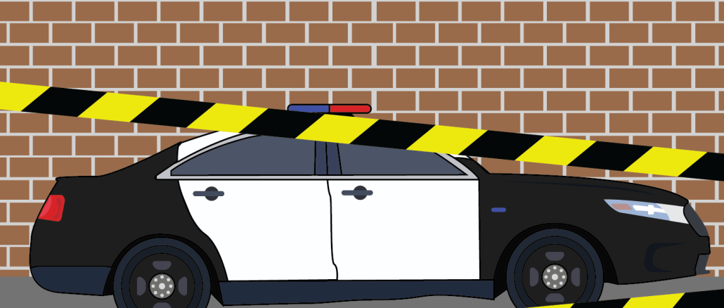 police car with crime scene tape