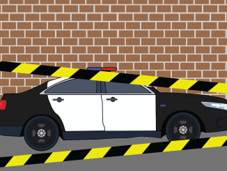 police car with crime scene tape