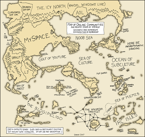 Map of the Cyberspace (courtesy of http://www.xkcd.com/c256.html)