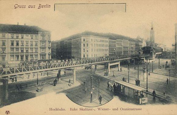 Hochbahn Ecke Skalitzer-, Wiener- und Oranienstrasse Berlin, ca 1900