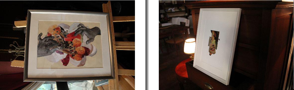 Walter Paganuzzi ha i suoi collage in un negozio di arredi d'epoca su viale Monza al numero 75.