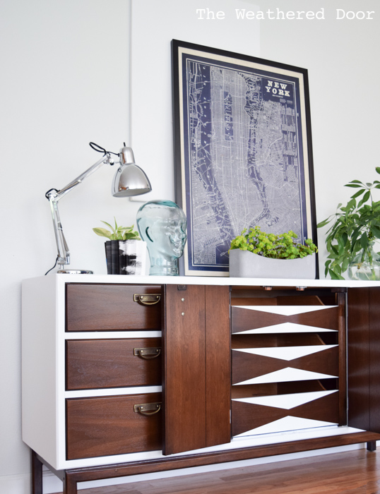 Fresh and Modern Mid Century Dresser with Geometric Drawers | from theweathereddoor.com-1