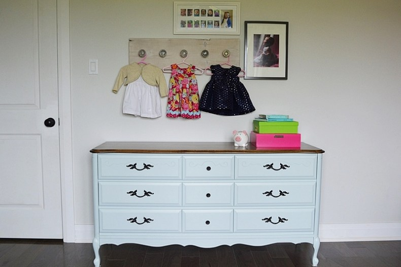Aqua blue dresser makeover using general finishes milk paint.