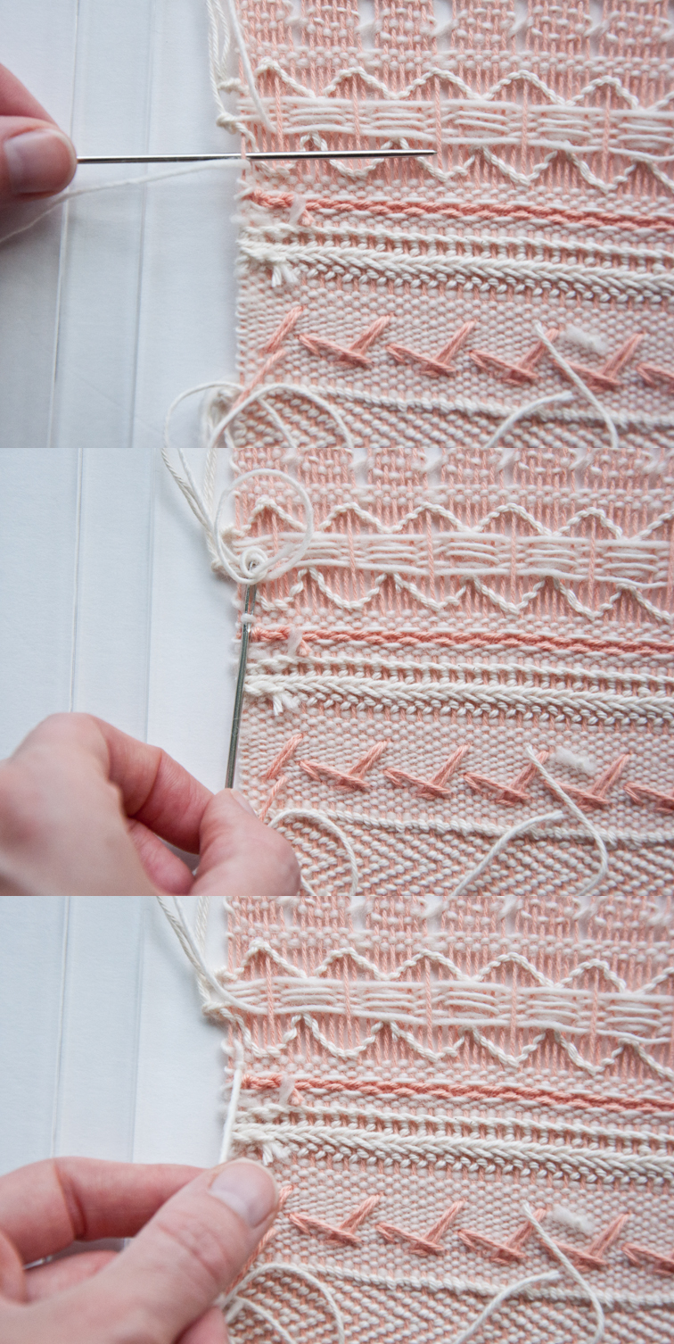The finishing steps for our free weave along pattern