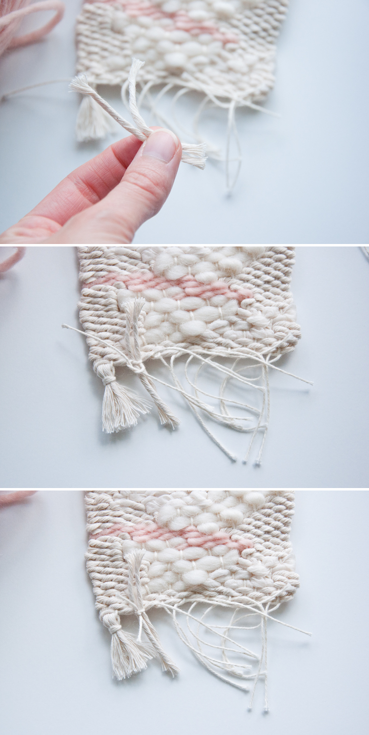 Adding tassels to my woven drink coasters. My guests will love these!