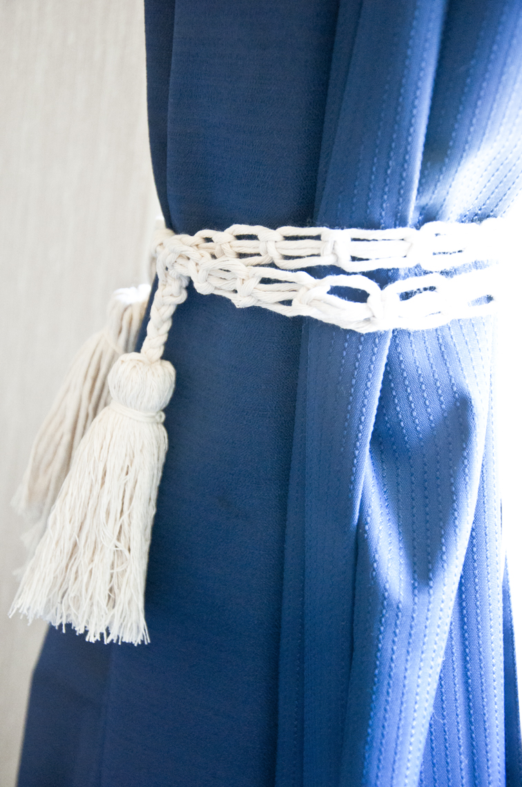 Make your own macrame curtain tieback!
