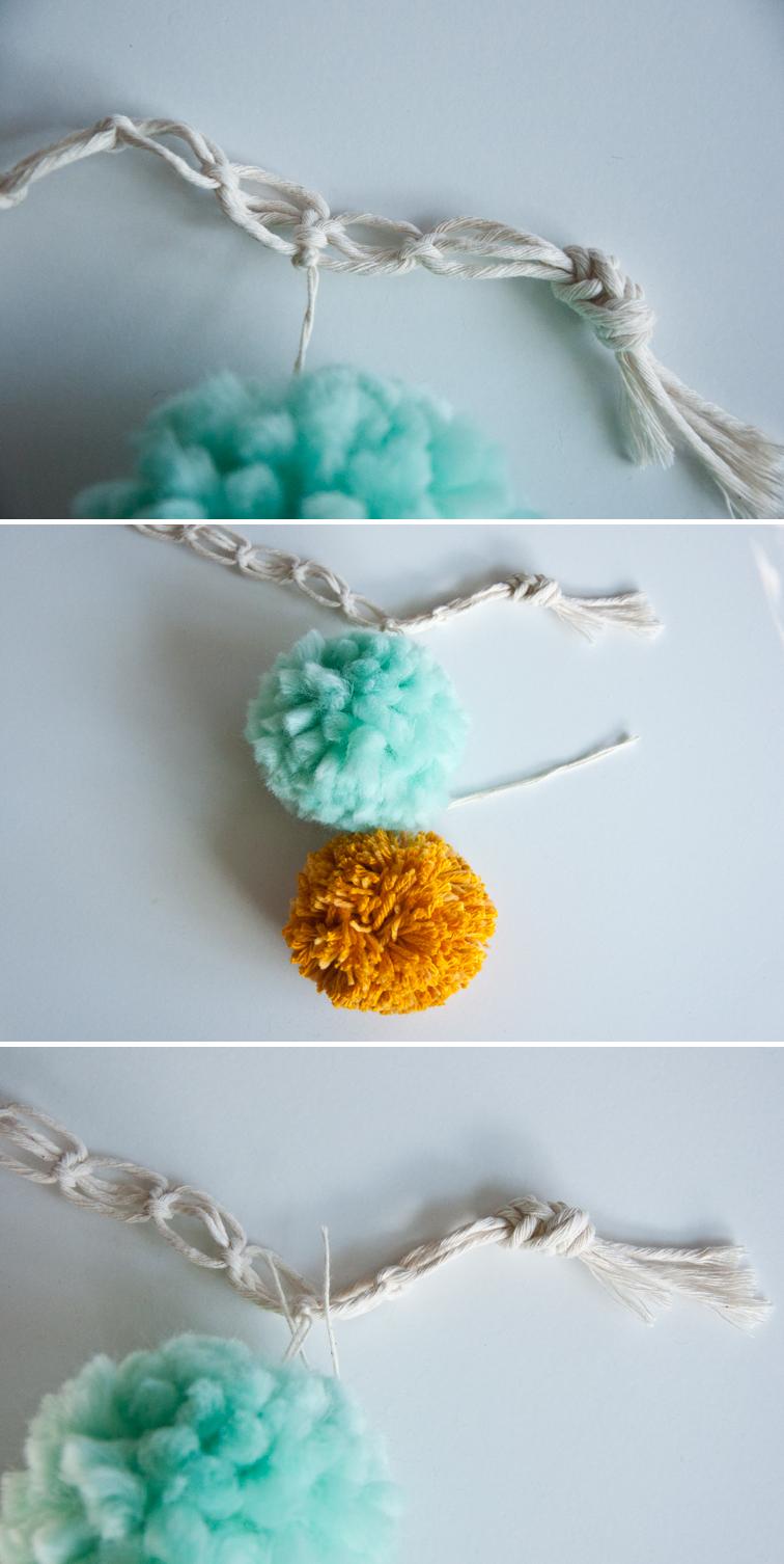 Make your own pom pom curtain tie back!