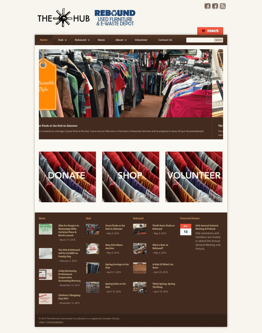 hub rebound website design almonte thrift store