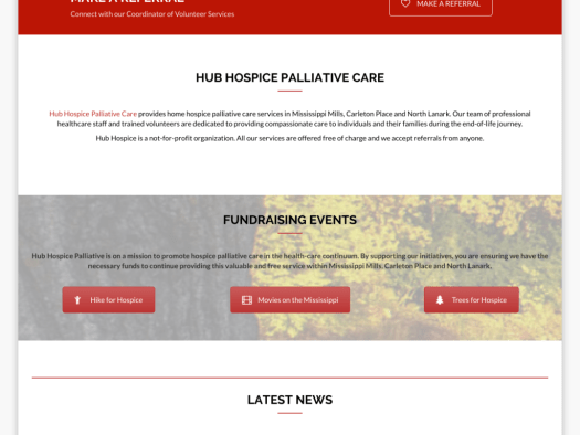 hub hospice palliative care website design