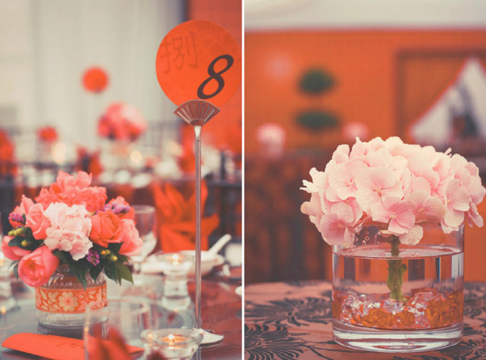Keeping the colors subtle, pink hydrangeas and off-red roses are great choices for new year centerpieces