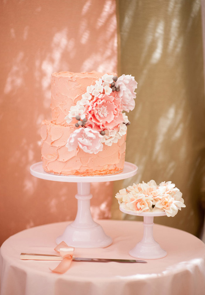 Peach colour wedding cake. Tealily Photography. www.theweddingnotebook.com