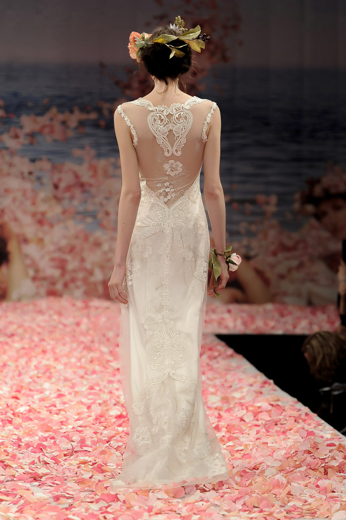 Claire Pettibone 2013 Fall Collection – Alma. Ivory floral embroidery with pearl silk and guipure embellished neckline and back. www.theweddingnotebook.com