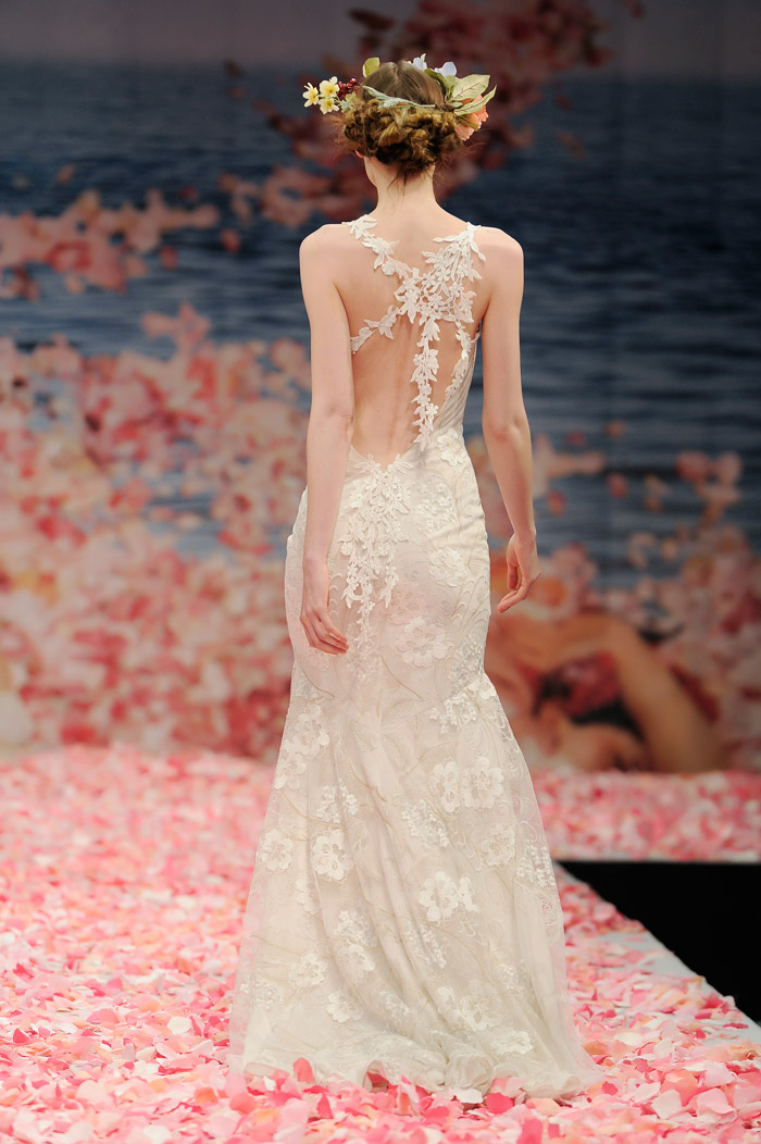 Claire Pettibone 2013 Fall Collection – Devotion. Ivory floral embroidered mermaid silhouette with ivory linen and guipure vine straps. www.theweddingnotebook.com