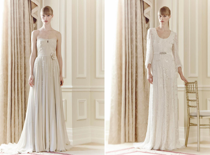 Left: Vivien, Right: Lucy – Jenny Packham Spring 2014 Collection. www.theweddingnotebook.com