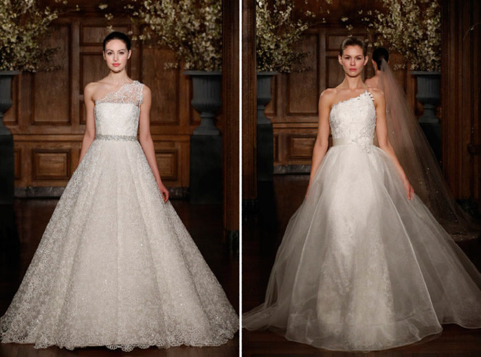 Romona Keveza Couture Spring 2014 Bridal Collection. www.theweddingnotebook.com. Left: 1990's – A New Cool; Right: 2000 - Millennium