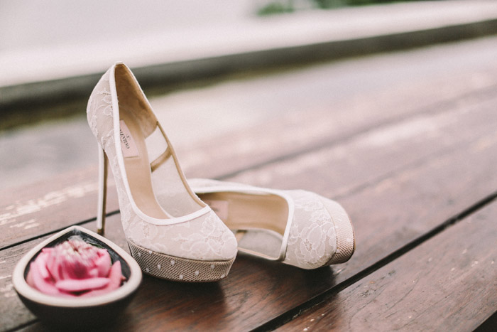 Bridal Shoes by Valentino. Photo by Jenny Sun Photography. www.theweddingnotebook.com