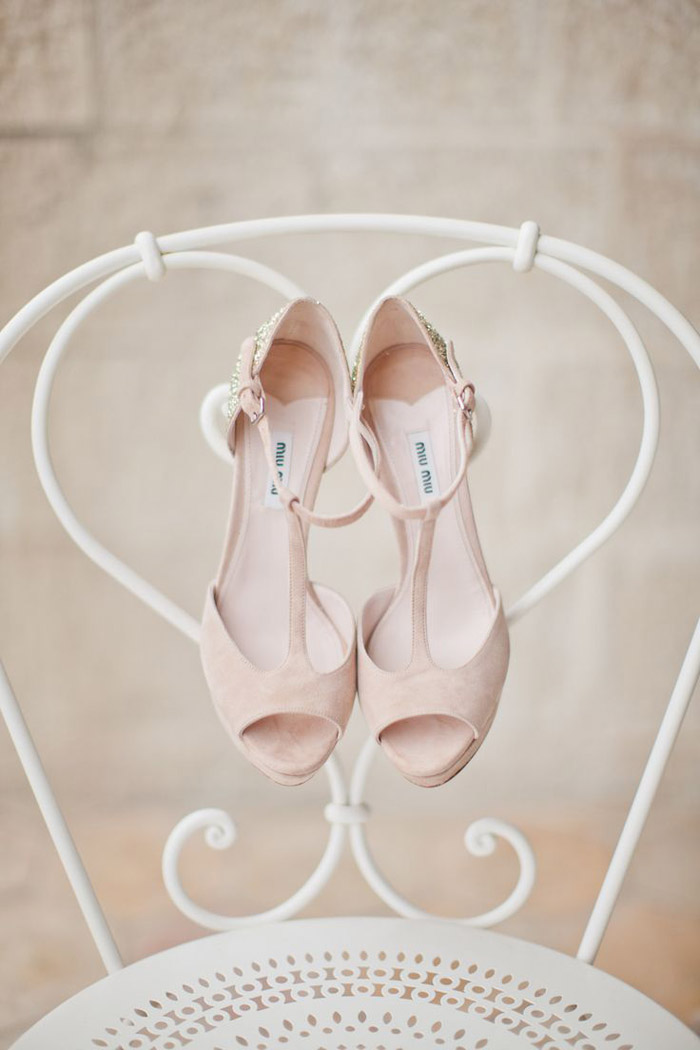 Bridal Shoes by Miu Miu. Photo by Katy Lunsford Photography. www.theweddingnotebook.com