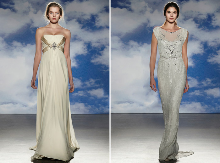 Left: Coco; Right: Alicia – Jenny Packham Spring 2015 Bridal Collection. www.theweddingnotebook.com
