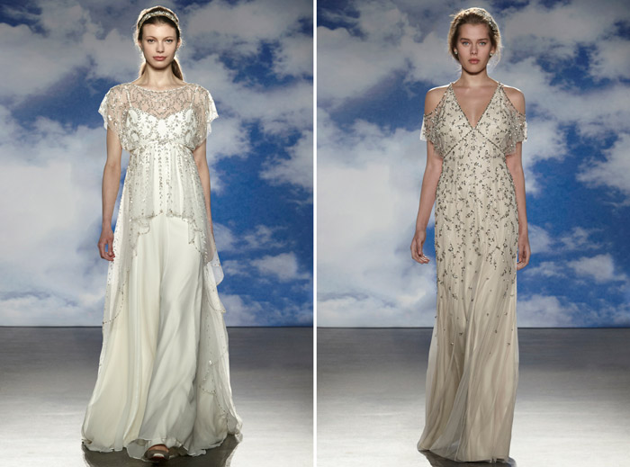 Left: Hatty; Right: Garbo – Jenny Packham Spring 2015 Bridal Collection. www.theweddingnotebook.com