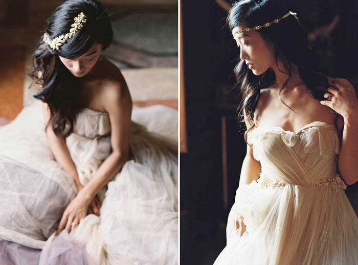 Left: Sonnet Vine; Right:Esmee Headband –Enchanted Atelier By Liv Hart Fall 2015 Collection. Photo by Laura Gordon Photography. www.theweddingnotebook.com