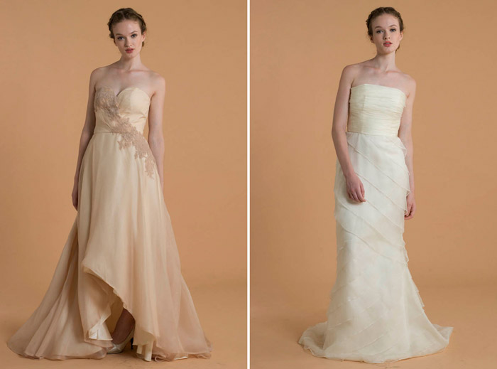 Left: Claire; Right: Agnes – Love, Yu 2015 Bridal Collection. www.theweddingnotebook.com