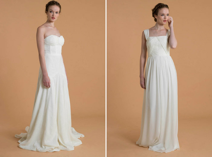 Left: Edith; Right: Sabine – Love, Yu 2015 Bridal Collection. www.theweddingnotebook.com