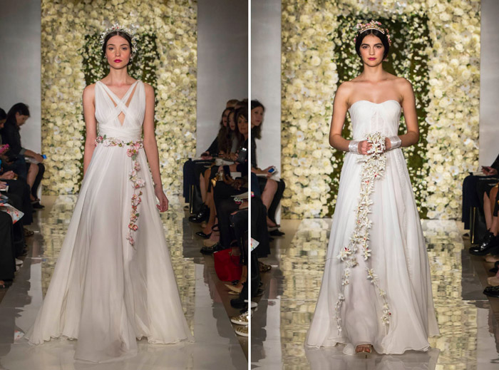 Left: Couture; Right: I'm In Love –Reem Acra Fall 2015 Bridal Collection. www.theweddingnotebook.com