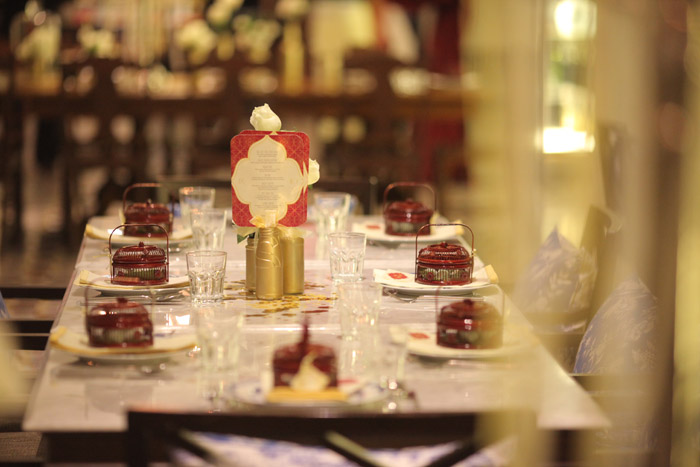 Red and gold themed at Seven Terraces Penang. Event Styling by Bliss & Glitz. www.theweddingnotebook.com