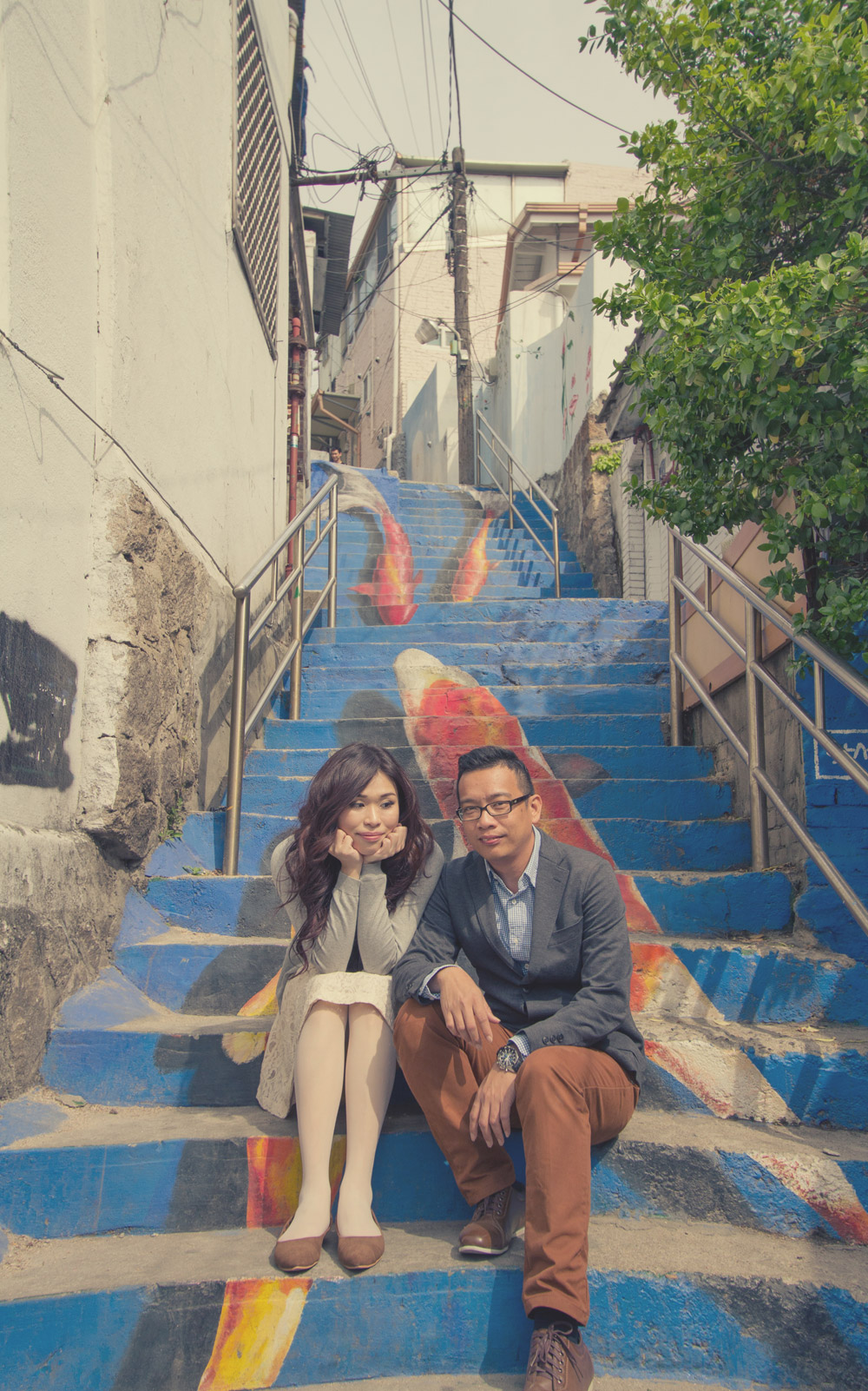 Seoul, South Korea – beautifully painted stairs.  Josh Chong Photography. www.theweddingnotebook.com