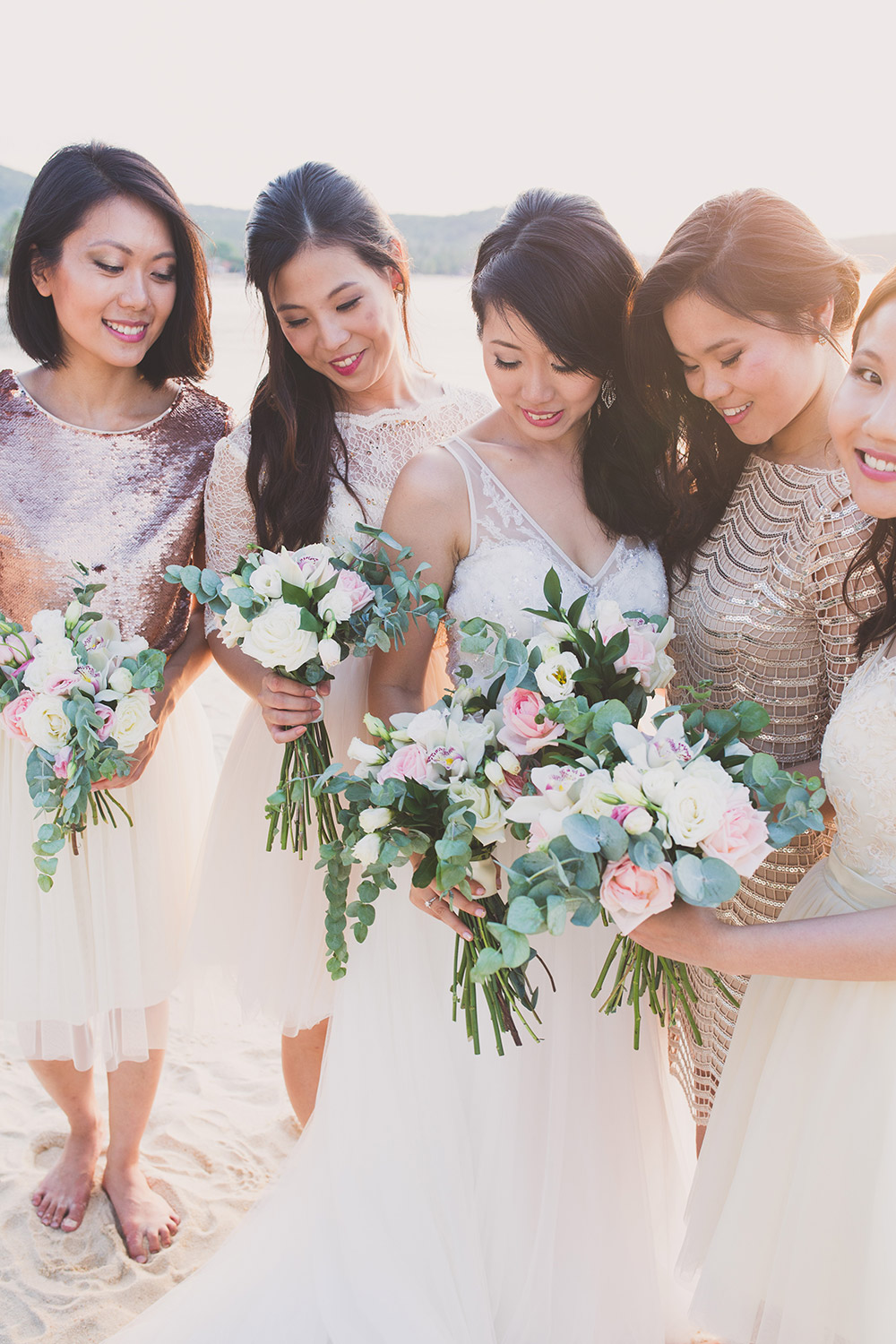 Bridesmaids in rose gold. Cherry May Ward Photography. www.theweddingnotebook.com