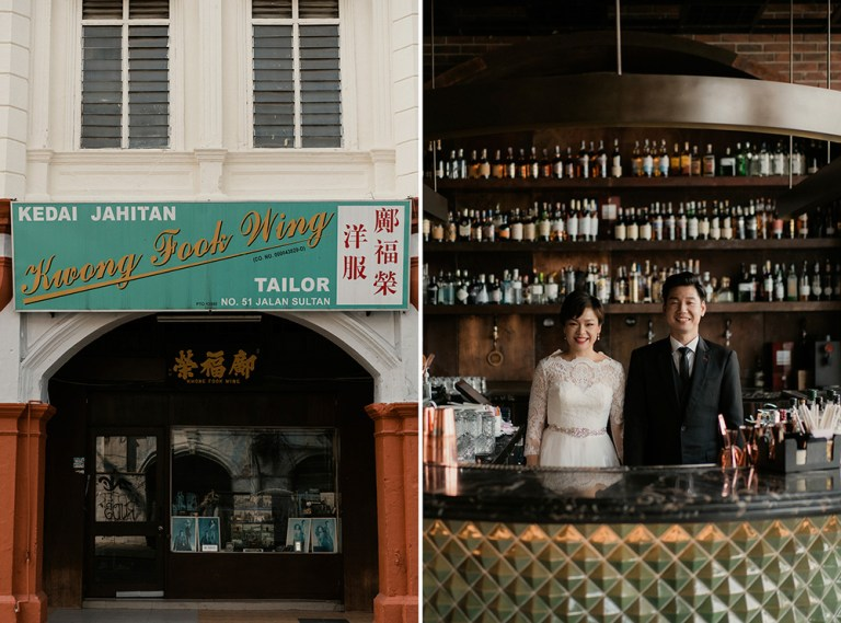Chic bridal portraits in Chinatown Kuala Lumpur. Kane.CY Photography. www.theweddingnotebook.com