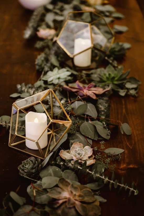 fresh look design geometric wedding centrepieces