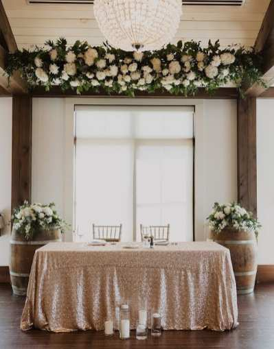 fresh look design hanging floral arrangement over a sweetheart table