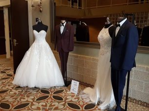 Gown: Sew Stylish Wedding Works | Tux: Collins Formal Wear
