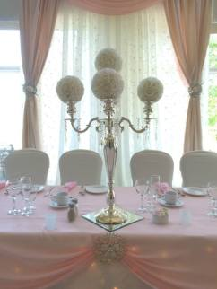 Now & Always blush and white wedding table decor with floral balls and tall candelabras