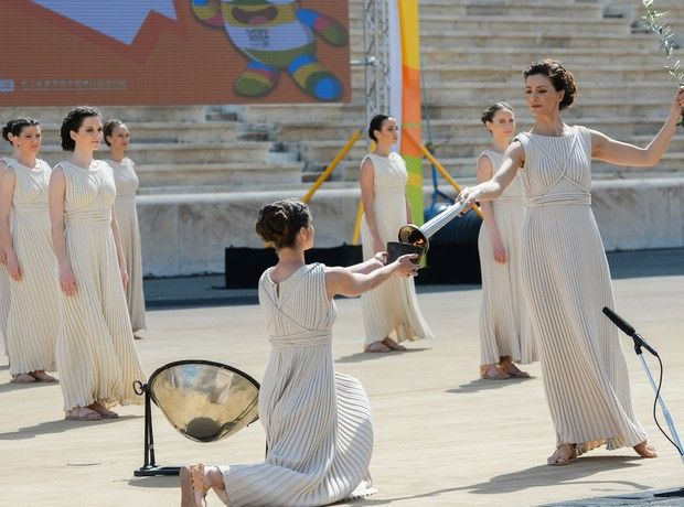 Youth Olympic Flame Lit in Panathenaic Stadium | Photo by Greek Reporter