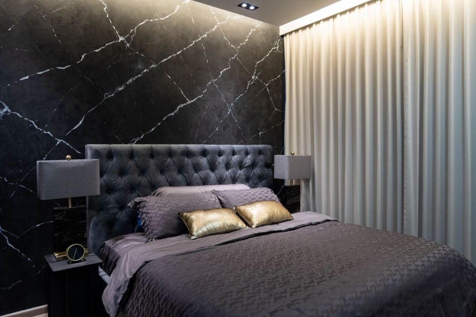 Nippon Paint Momento Black Marble textured painting singapore